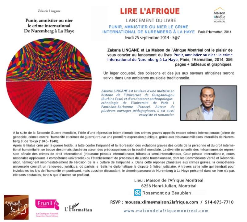 Maison de l'Afrique Montréal - Invitation au jeudi littéraire